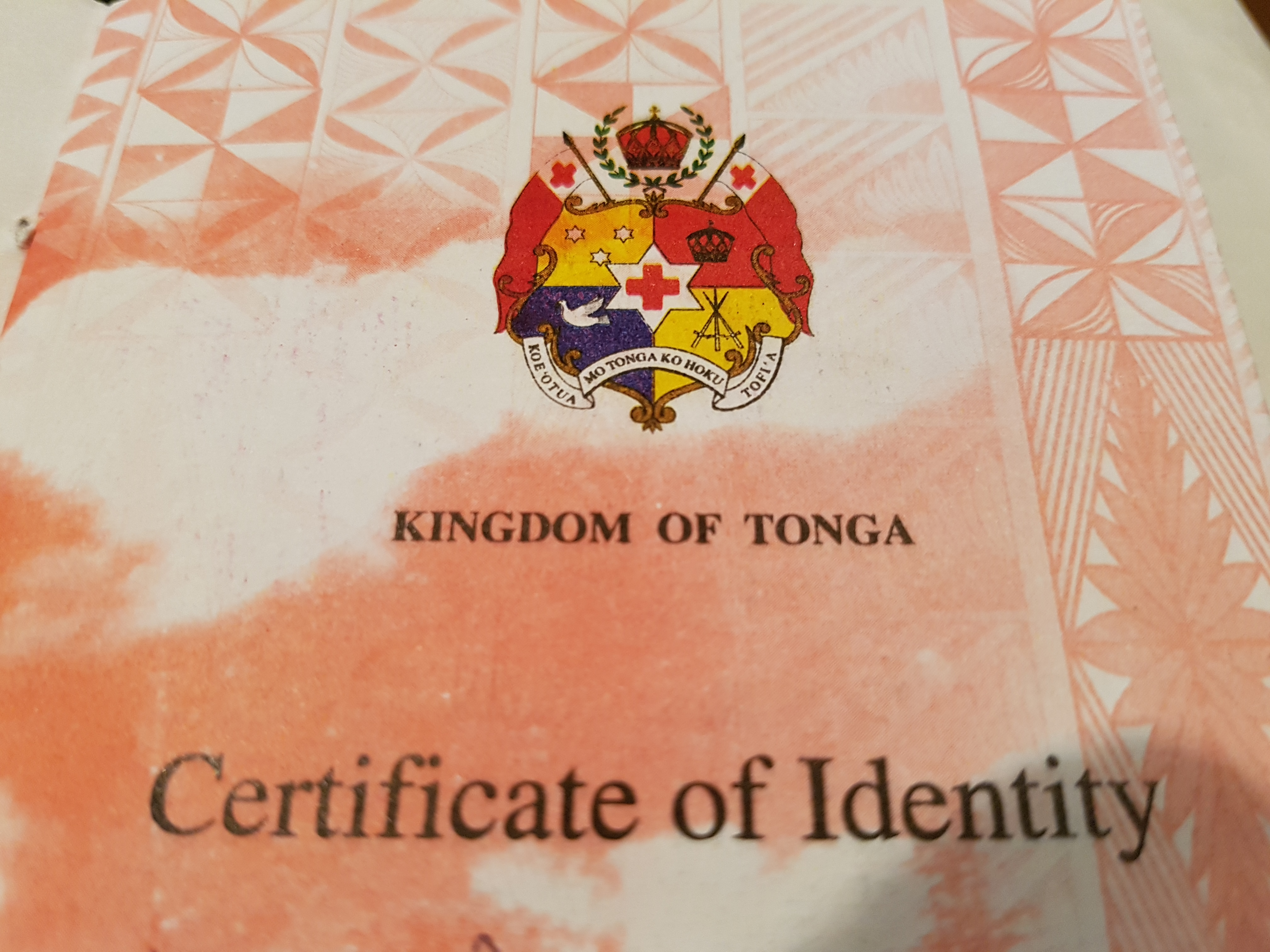 Certificate Of Identity Kaniva Tonga Largest New Zealand Based
